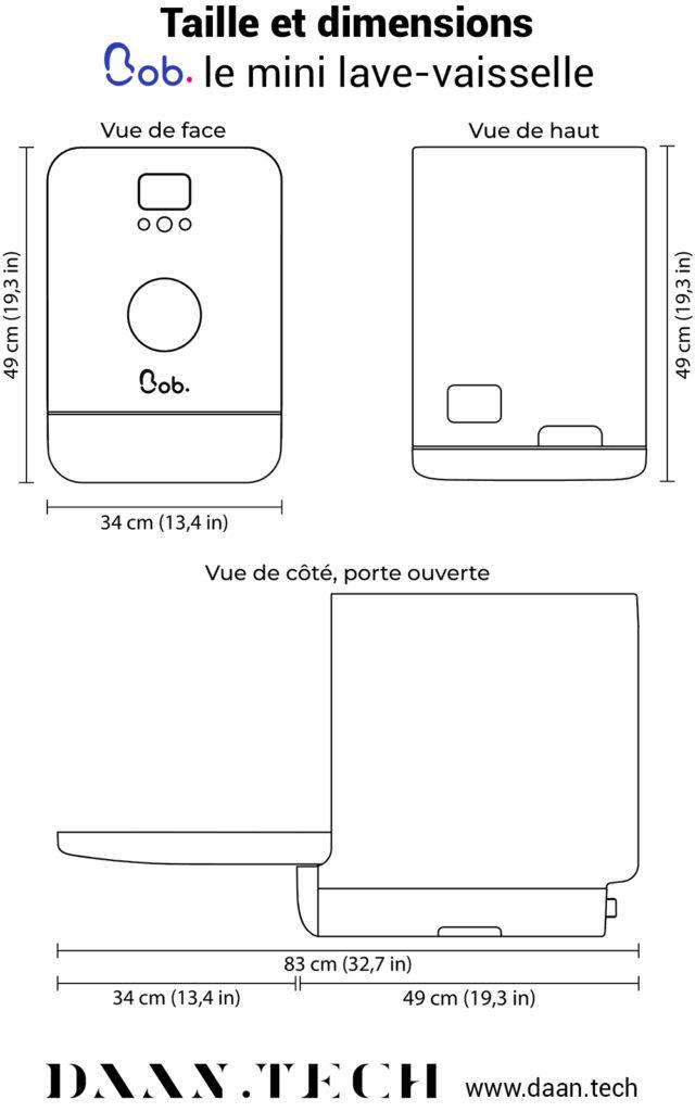 Dimensions de Bob le mini lave-vaisselle sur Daan Technologies. Jetez l'éponge, adoptez Bob, le premier mini lave-vaisselle 2 couverts ultra-rapide (cycle rapide de 20 minutes), éco-responsable, intelligent et connecté, portable et autonome (grâce à son réservoir d'eau amovible), design, durable et Made in France.