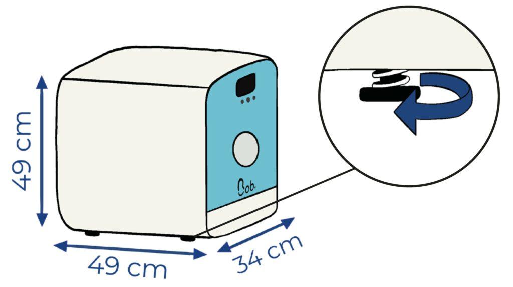 Dimensions Bob mini lave vaisselle patins réglables