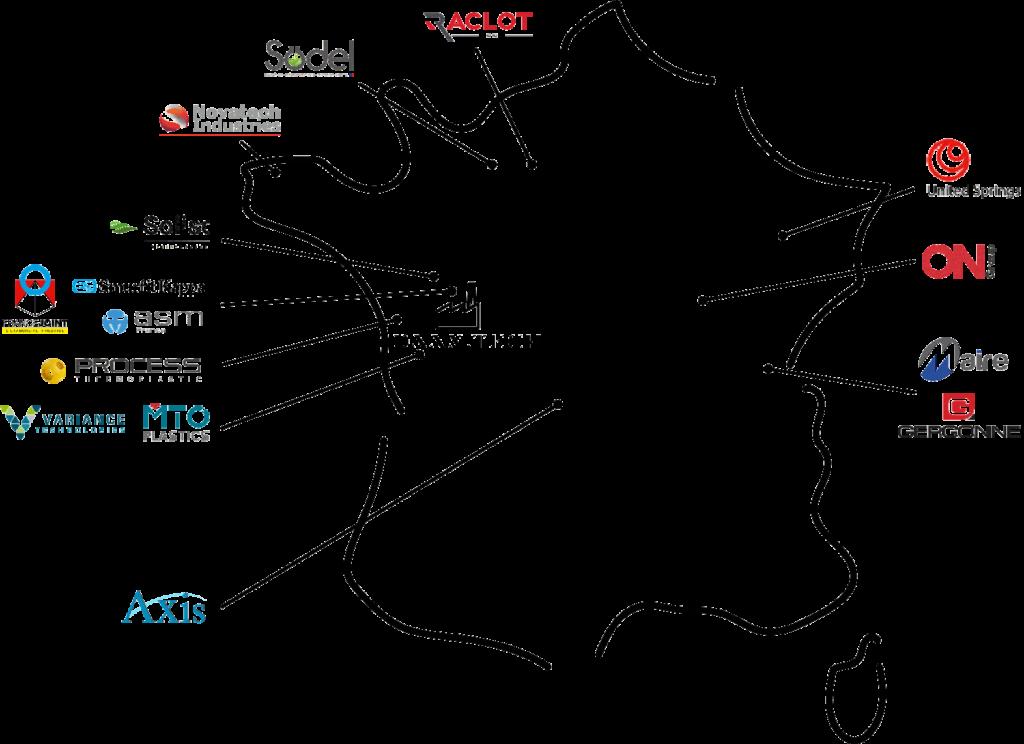 Carte des fournisseurs et partenaires Daan Tech Made in France pour Bob mini lave vaisselle French Fab